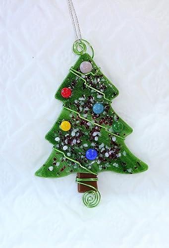 green fused glass christmas tree sun catcher green fused glass tree green stained glass