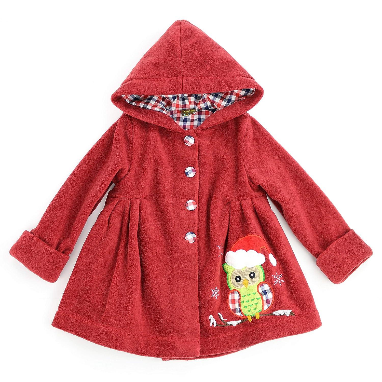 Toddlers and Girls 2-7//8 Fleece Snowed in Christmas Owl Hooded Swing Coat Maria Elena
