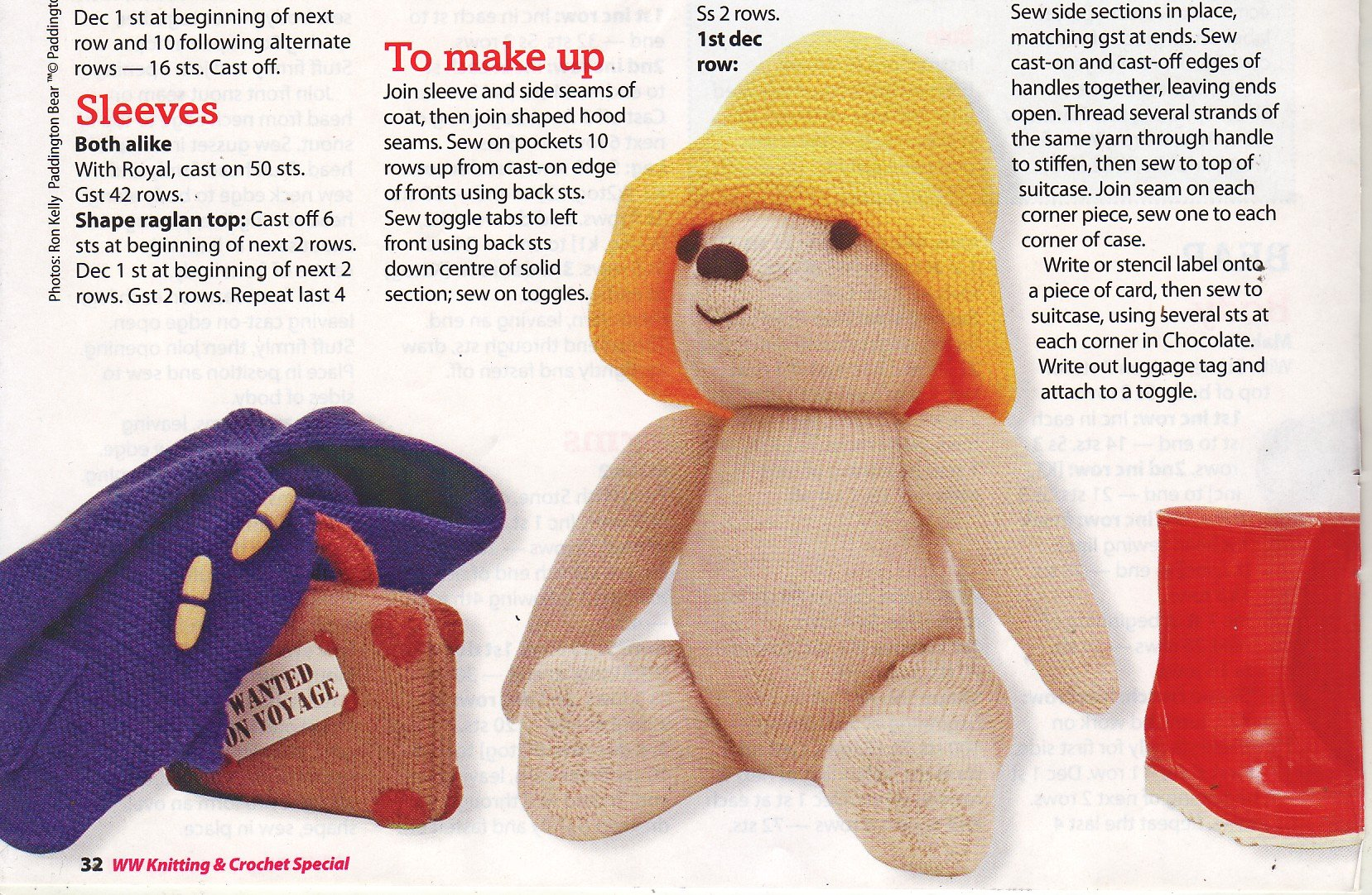 Paddington Bear by Alan Dart Toy Knitting Pattern: Measurements 48cm ...