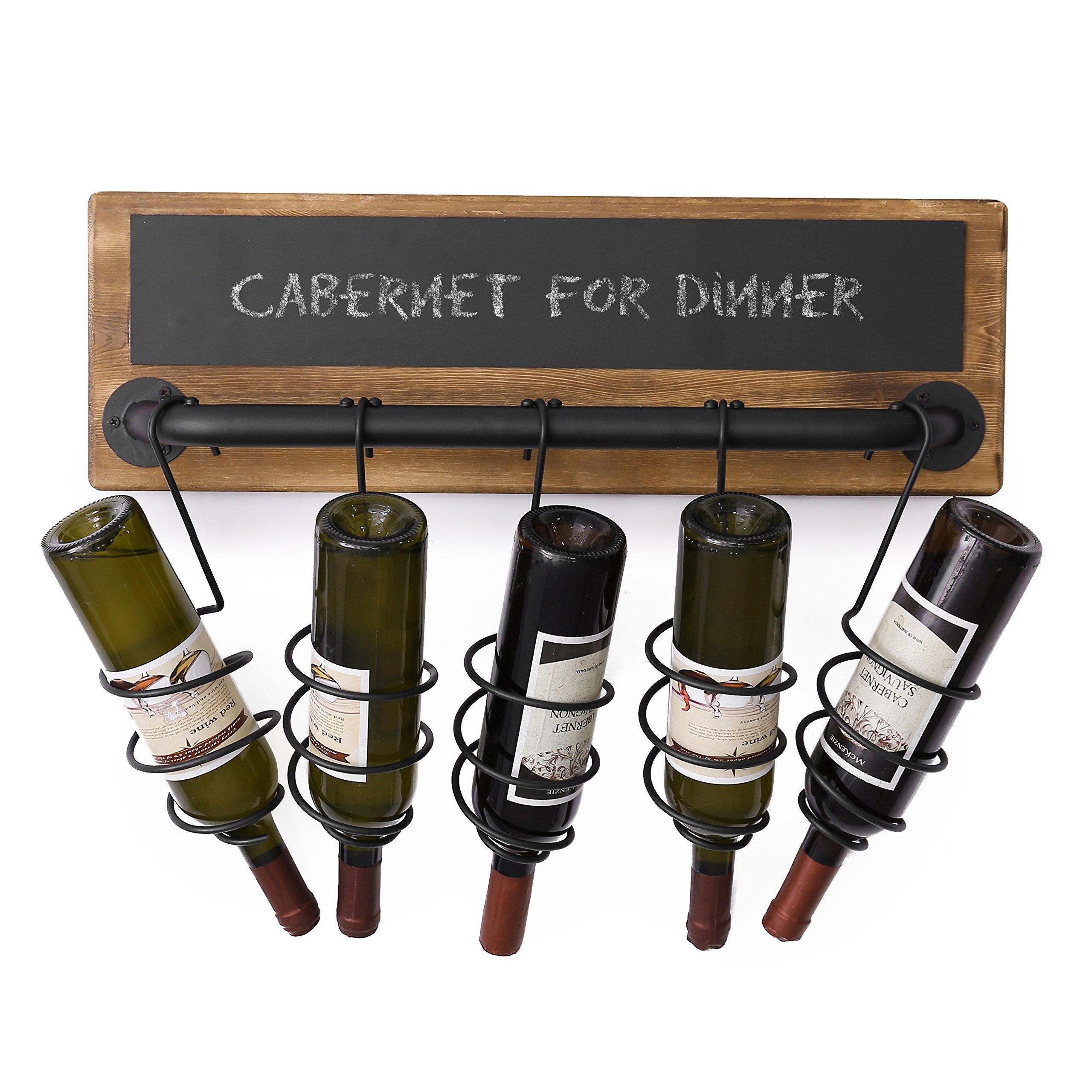 MyGift 5-Bottle Industrial Wood & Pipe Design Wall Mounted Wine Bottle Rack with Chalkboard Label