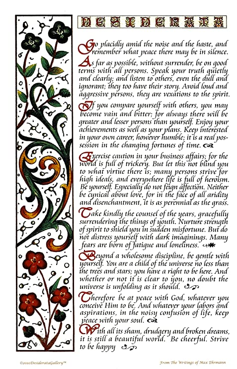 image relating to The Desiderata Poem Printable known as Multicolor Desiderata Poem Poster Print 11 X 17 Calligraphy Structure