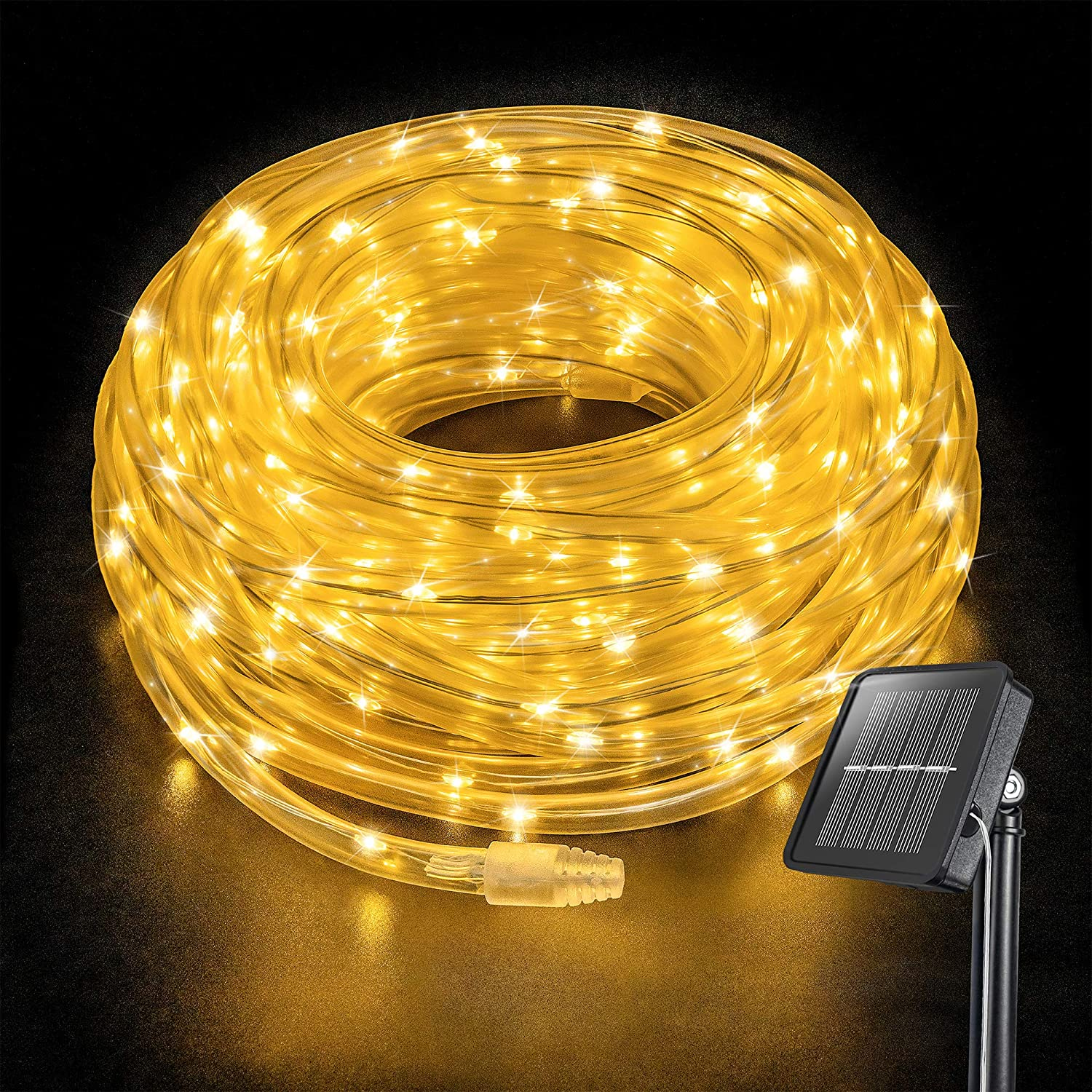 Oopswow 8 Modes Solar Powered Light Rope,37.7ft 200LED Outdoor Solar Rope Lights, Waterproof Solar LED Christmas Light for Garden, Fence, Patio, Yard, Wedding, Christmas,Halloween (Warm White)