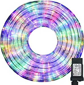 Hezbjiti LED Rope Lights, 480 LED 66ft 8 Modes Control Flexible Low Voltage Rope Lights, Indoor Outdoor Waterproof Tube Light for Gardens, Home, Party, Christmas (480 LED, Multicolor)