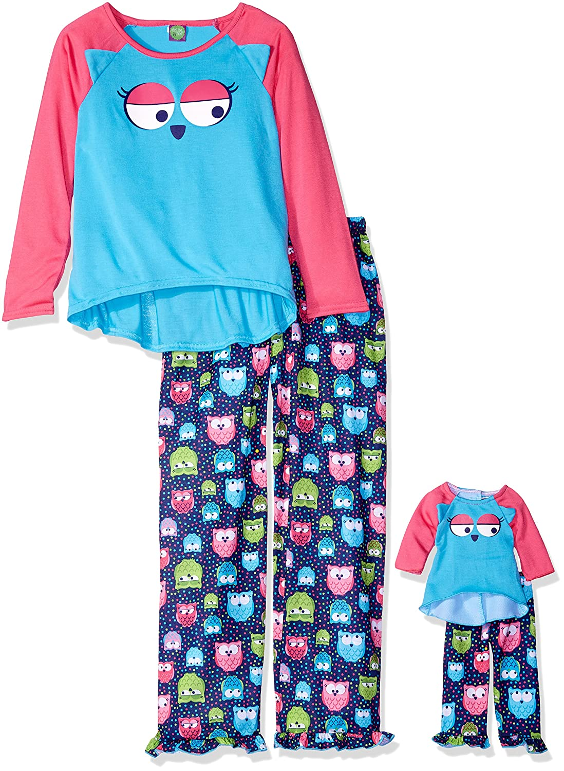 Dollie /& Me Girls 2 Piece Animal Face Sleepwear Set with Matching 18 Inch Doll Outfit