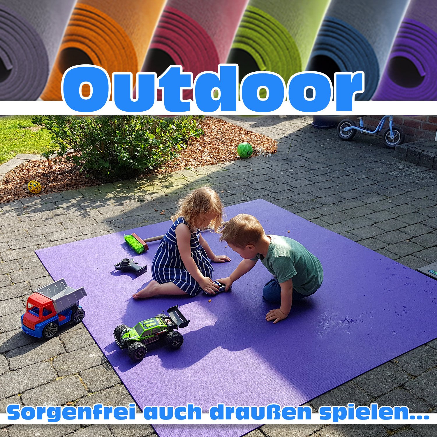 "Outdoor Krabbelmatte Krabbelunterlage SanoSoft""made in Germany"" - Öko-Tex 100 180x240 cm Grau"