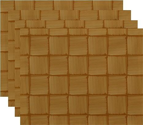 Amazon Com E By Design Pt4gn371y2ye4 Basketweave Geometric Print Placemat 18 X 14 Gold Home Kitchen