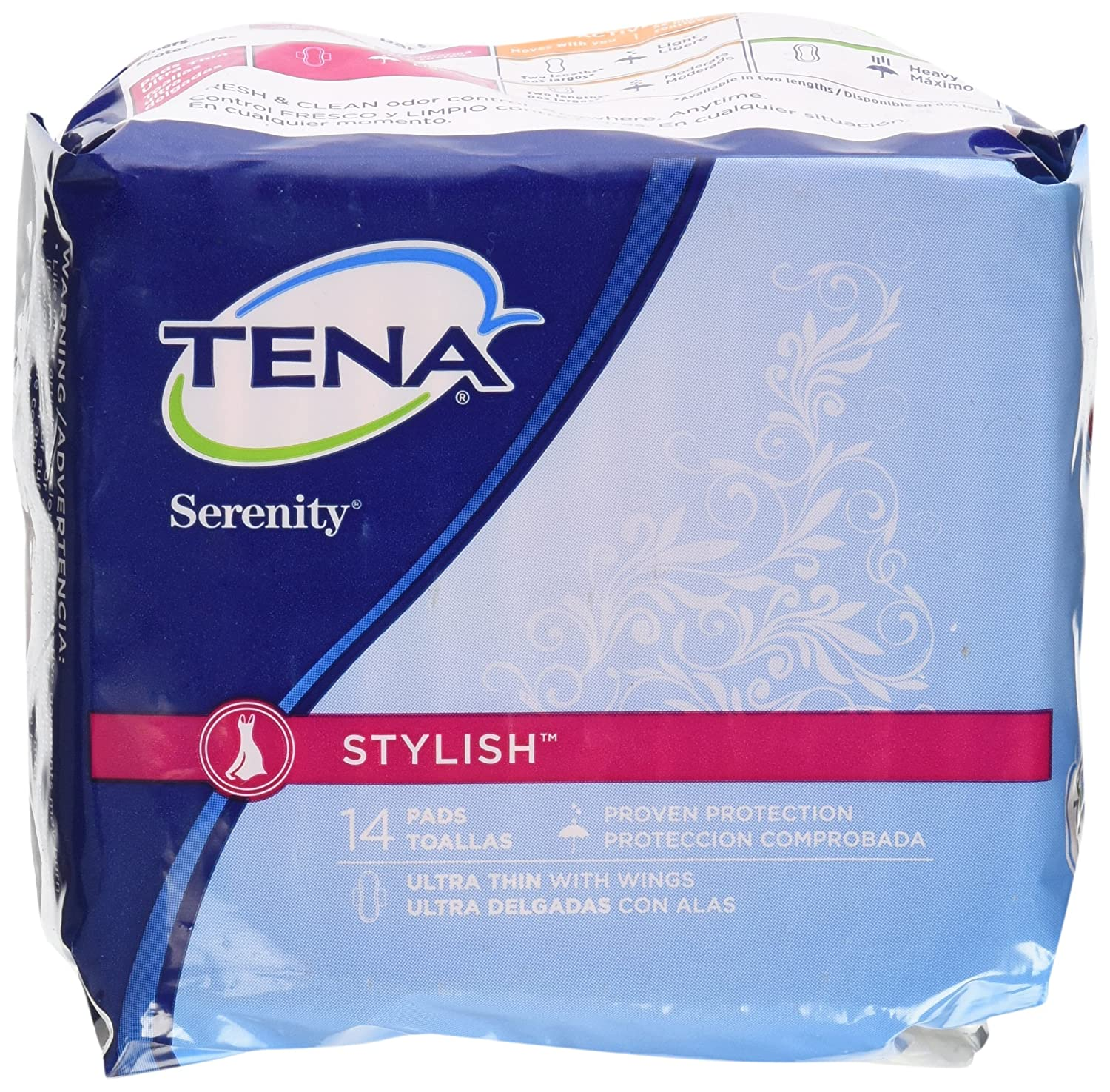 Amazon.com: Tena Serenity Stylish Untra Thin With Wings, 14 Pads.: Health & Personal Care