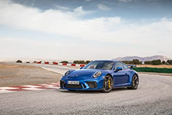 Porsche 911 GT3 (2017) Car Print on 10 Mil Archival Satin Paper Blue Front