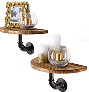 Clarke`s Decor - Floating Shelves for Wall, Hanging Shelves Set of 2. Wall Mounted Shelves with Industrial Pipes. Rustic Wood Shelves for Bedroom, Living Room, Bathroom or Small Wooden Display Shelf