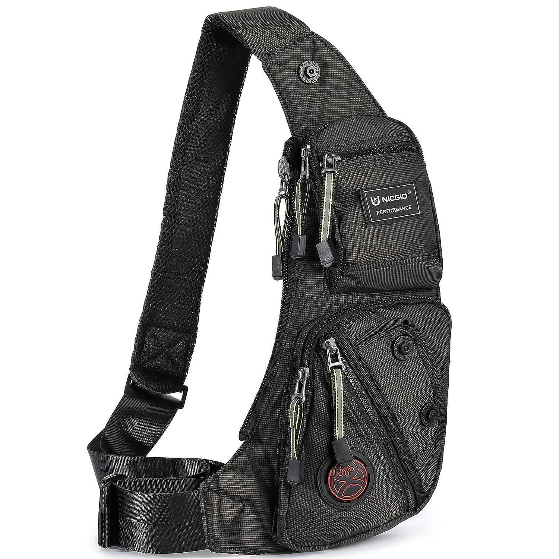 acac8c8da45 Nicgid Sling Bag Chest Shoulder Backpack Fanny Pack Crossbody Bags for  Men(Black)