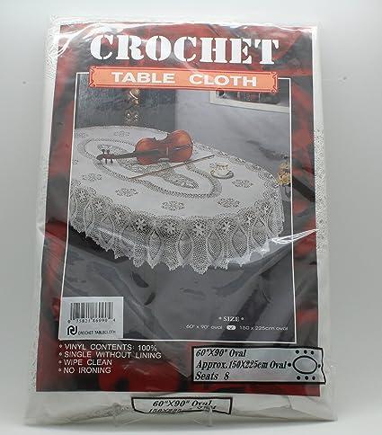 Crochet Vinyl Tablecloth (60u0026quot; X 90u0026quot; Oval)