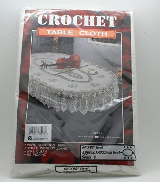 Marvelous Crochet Vinyl Tablecloth (60u0026quot; X 90u0026quot; Oval)