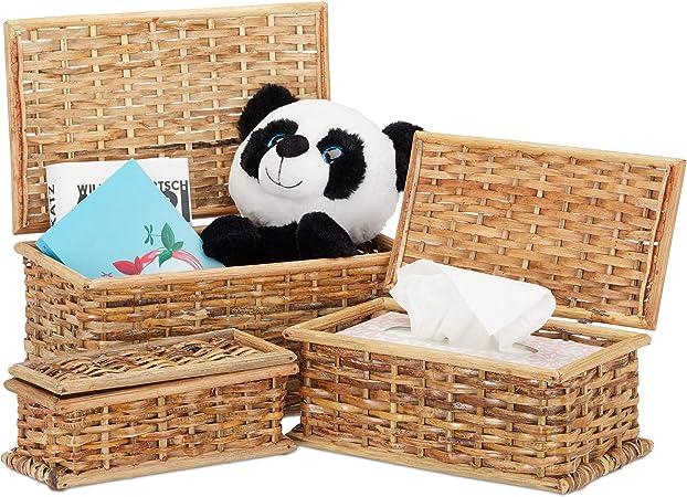 Relaxdays Set de Tres Cajas de almacenaje, con Tapa, Trenzadas, Decorativas, Ratán, Marrón, Caja, 10 L, 5 L, 2 L: Amazon.es: Hogar