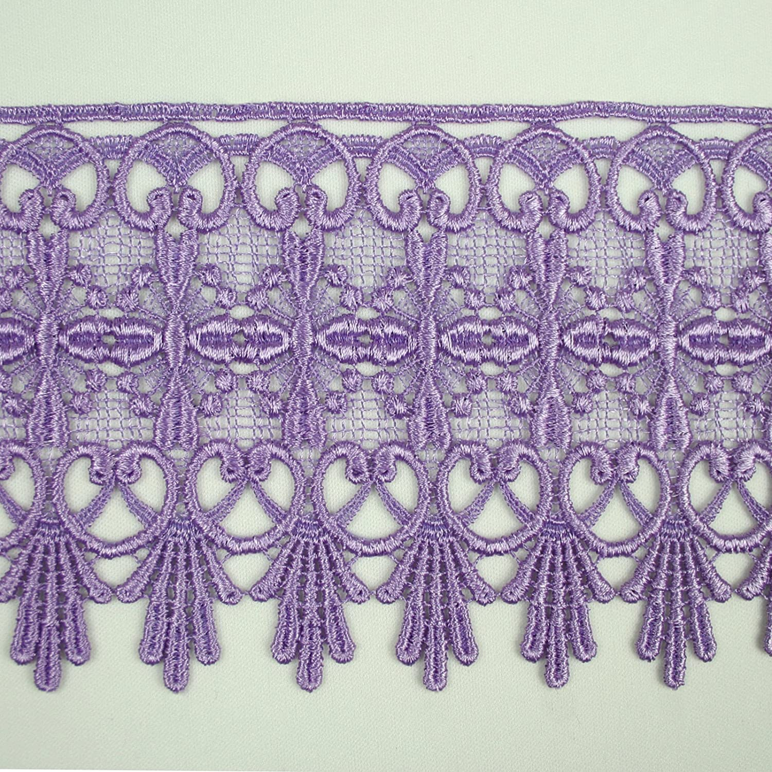 """Lilac Lavender Purple 5/8""""~5-1/8"""" Embroidered Venice Lace Trim Guipure By Yard (17823 (4.75')) Leader Textiles & Garments Co."""