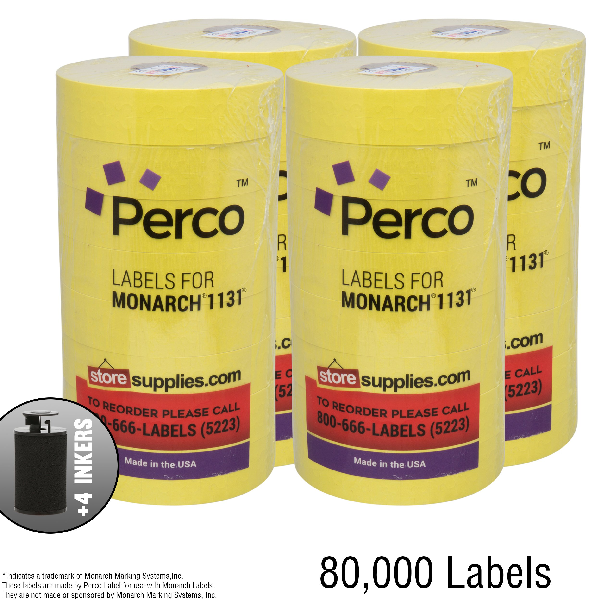 Yellow Pricing Labels for Monarch 1131 Price Gun -4 Sleeves, 32 Rolls, 80,000 Price Marking Labels Value Pack - with Bonus Ink Rolls