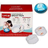 LuvLap Disposable Breast Pads - Ultra Thin and Super Absorbent - Pack of 48