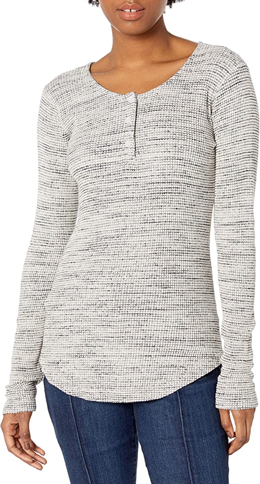 Monrow Womens Tissue Thermal Henley