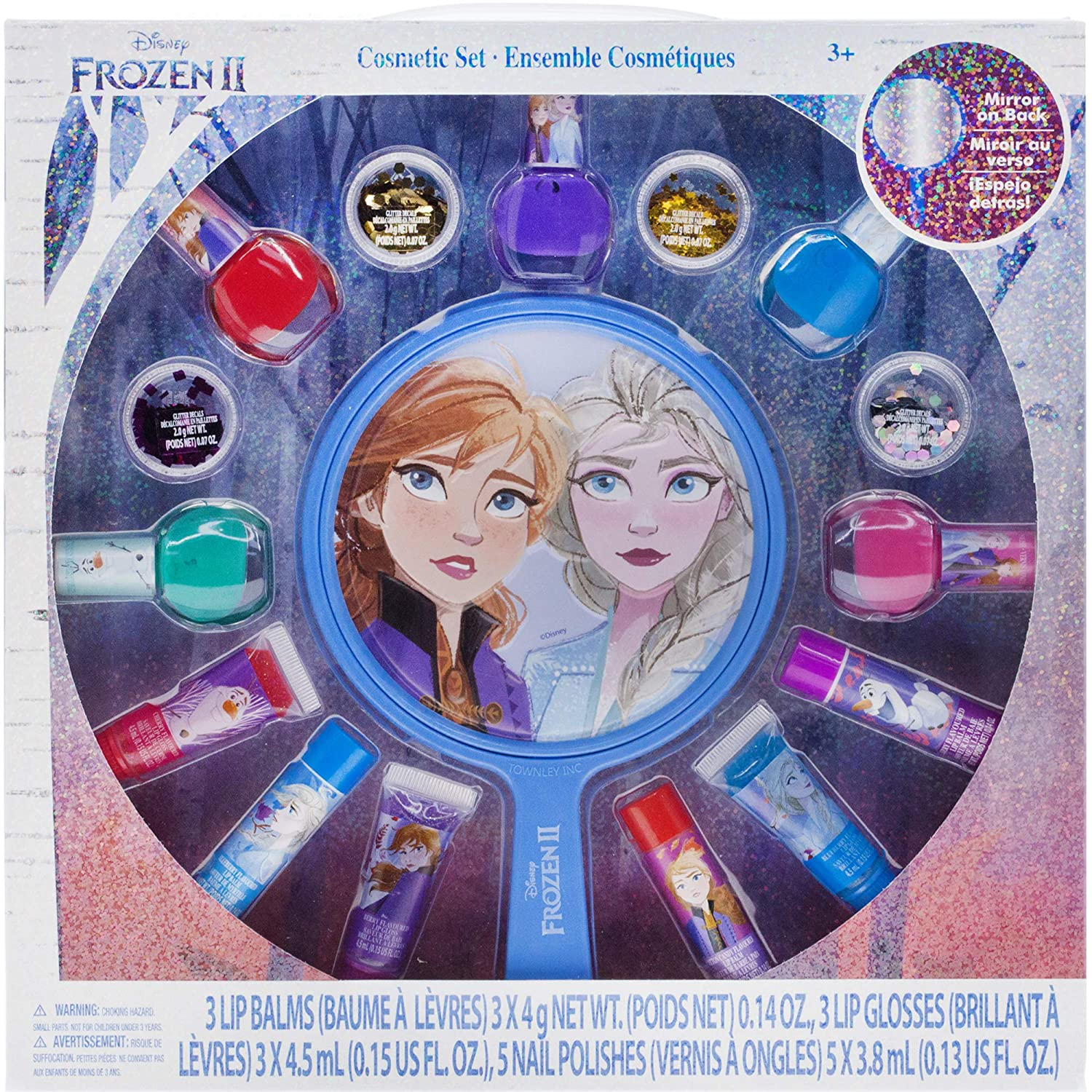 Townley Girl Disney Frozen 2 Non-Toxic Peel-Off Nail Polish, Lip Gloss and Mirror Set for Girls, Glittery and Opaque Colors, Ages 3 – 16 Pack