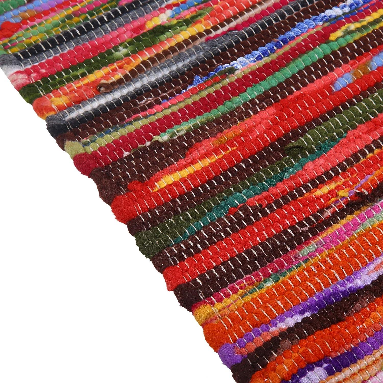 RAJRANG BRINGING RAJASTHAN TO YOU Alfombra Chindi Algod/ón Tejida a Mano Multicolor 81x50 cm Campo Indio Alfombras de Trapo de Tela Trenzada reciclada Trenzada