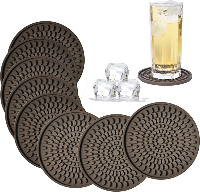 KindGa Coasters for Drinks Absorbent, Rubber Brown Coasters Set of 8, Large Silicone Drink Coasters for Furniture Protection, Deep Tray 4.3 Inch Oval Shape Reusable Heat-Resistant Mat
