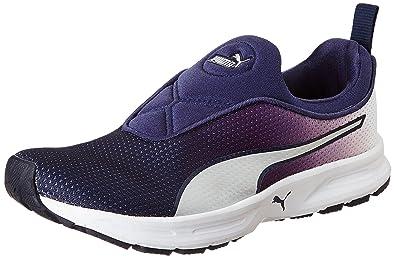 a8ed980f3d9 Puma Men s EF Cushion Slipon Fade DP White Silver-Peacoat Running Shoes-4 UK
