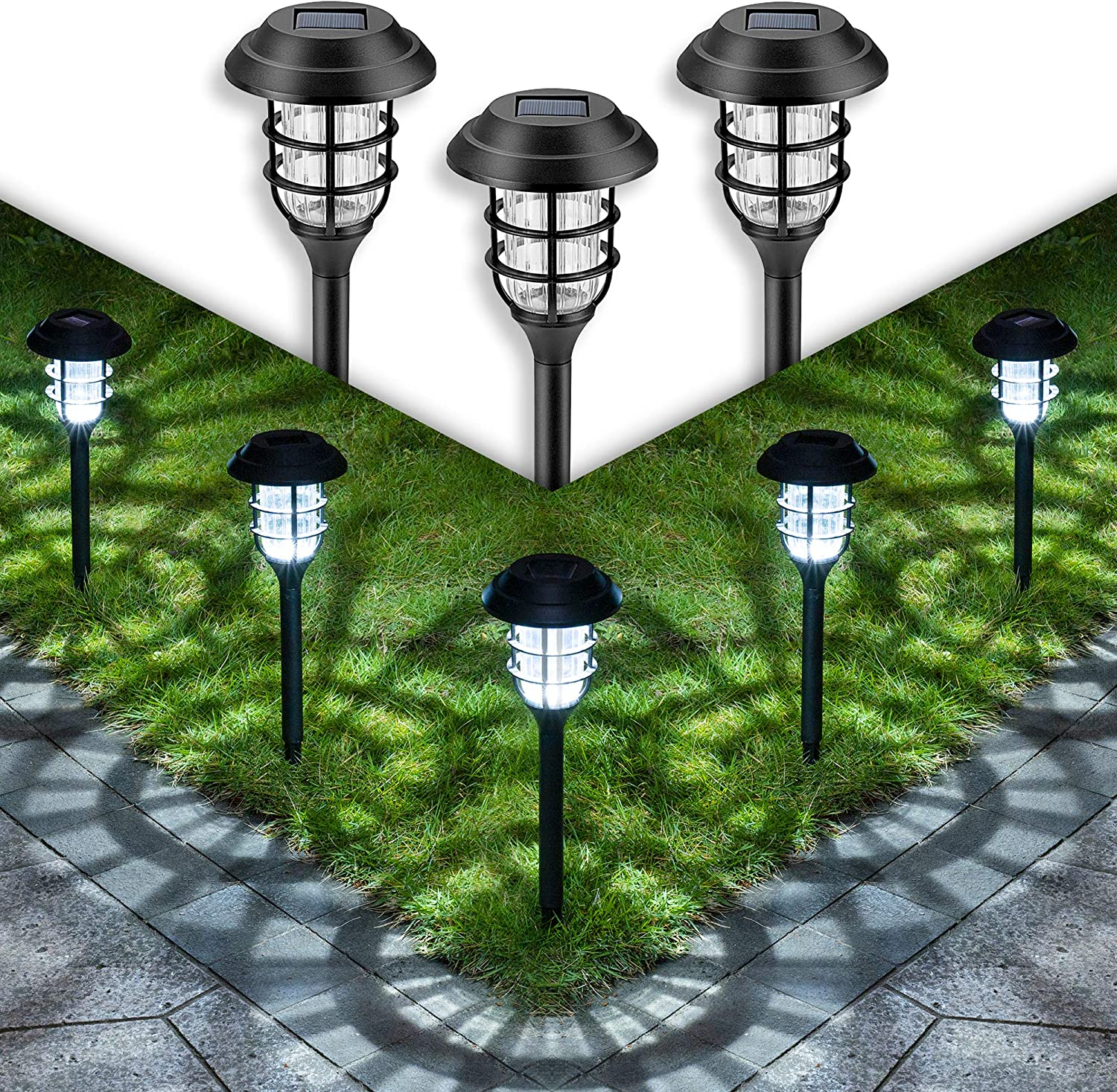GIGALUMI Solar Pathway Lights Outdoor, 8 Pcs Solar Powered Yard Lights, Waterproof Led Solar Landscape Lights for Yard, Lawn, Patio, Garden, Path, Walkway or Driveway(Cold White).