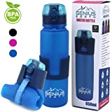 Genius Earth Foldable Water Bottle - Collapsible, Portable, Silicone Drink Bottle for Hiking, Sports & Travel. Lightweight, Reusable Bottles for Men, Women and Kids. BPA Free. 22oz