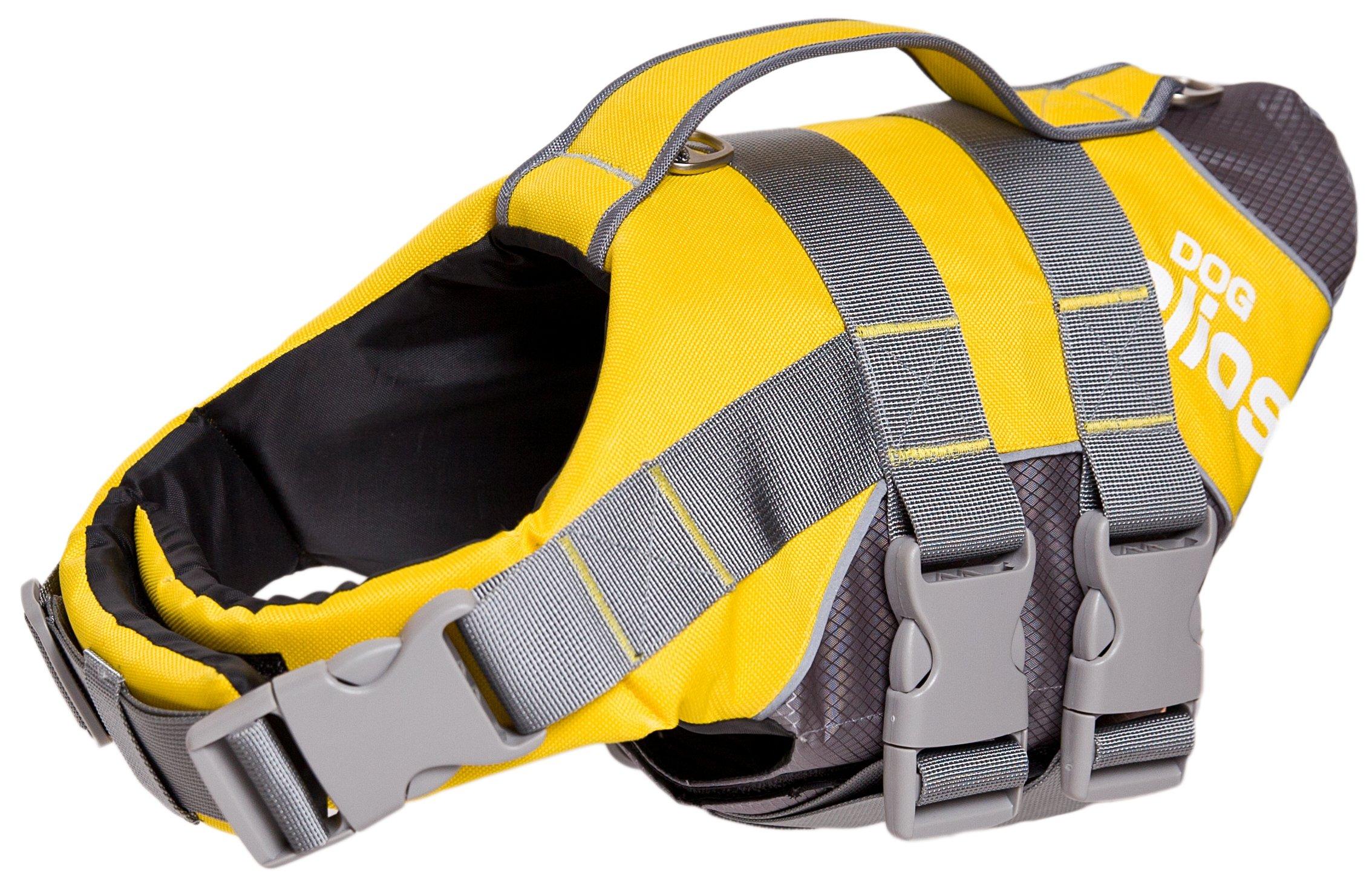 DOGHELIOS 'Splash-Explore' Outdoor Performance 3M Reflective and Adjustable Buoyant Safety Floating Pet Dog Life Jacket Vest Harness, Large, Yellow