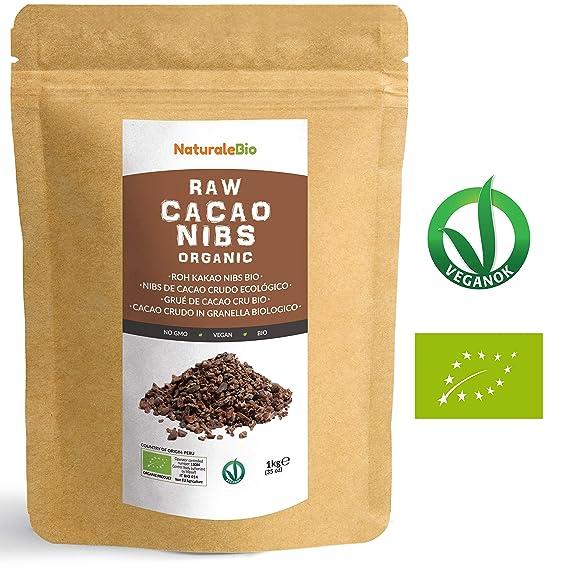 Nibs de Cacao Crudo Ecológico 1 kg | 100% Puntas de Cacao Bio, Natural