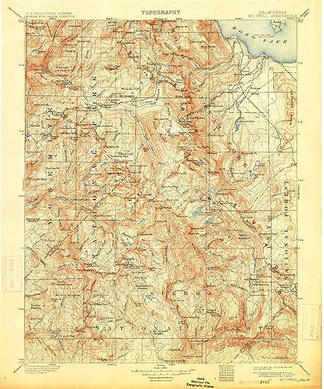Map 1914.Amazon Com Mt Lyell Ca Topo Map 1 125000 Scale 30 X 30 Minute