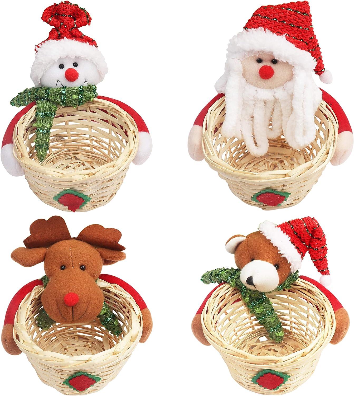 Adorno de Navidad Cesta para Dulces (4 Piezas) - 9,6 x 7 cm Cestas Mimbre para Navidad con Muñeco de Navidad para Dulces Galletas - Adornos de Navidad Sobremesa Regalos Pequeños Niños Navidad