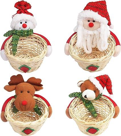 Decorazioni Natalizie Caramelle.Cestino Natalizio Decorazioni Natale 4pz 9 6 X 7 Cm Cestino Natale Con Bambole Peluche Per Caramelle Biscotti E Dolcetti Cestini Di Natale Per Decorazioni Natalizie Per Bambini E Regali Natale