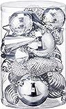 Partyforte Christmas HL8-HVSHAPESV 30pc Assorted Shape Baubles, Silver