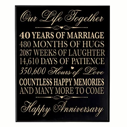 40th Wedding Anniversary Wall Plaque Gifts for Couple, 40th Anniversary Gifts for Her, Gifts