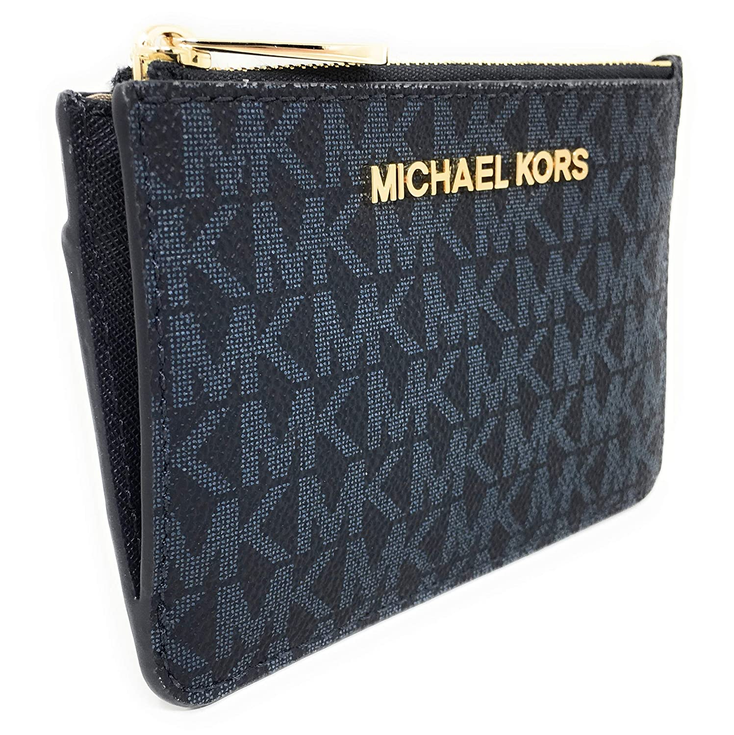 56d41d832 Michael Kors Jet Set Travel Small Top Zip Signature Coin Pouch ID Card Case  Wallet In Admiral at Amazon Women's Clothing store: