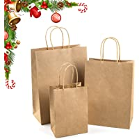 WDC Industries Brown Paper Bags with Handles Bulk, 75 Craft Bags, 25 Each Size (Large, Medium & Small). Plain Kraft…