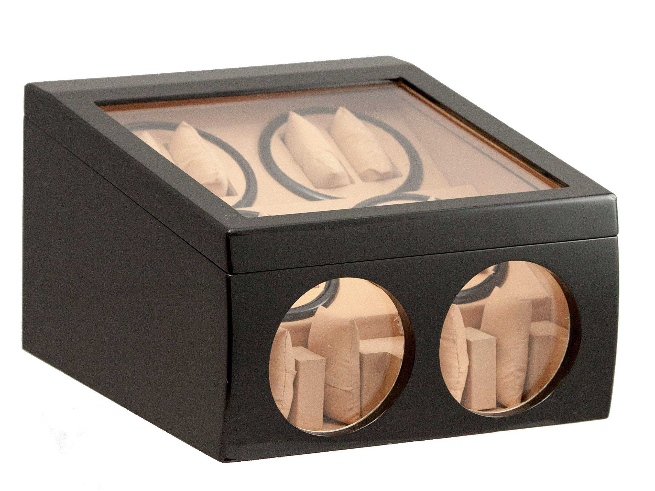 BRAND NEW BLACK 8+4 AUTOMATIC DUAL / DOUBLE QUAD WATCH WINDER 4 DISPLAY STORAGE BOX CASE