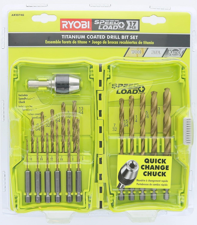 Ryobi AR2074G SpeedLoad Plus+ Titanium Coated 17-Piece Bit Set for Wood Metal or Plastic (w/Storage Case) (16 Hex Shank Bits, 1 Hex Shank Chuck)
