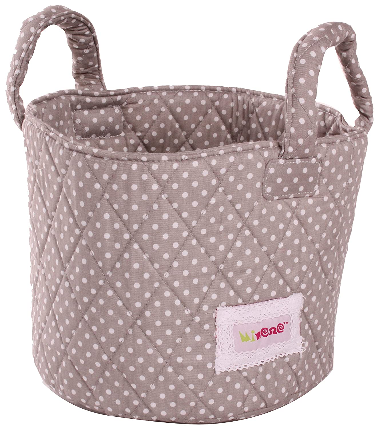 Minene Small Grey with White Dots Fabric Storage Basket Organiser with Handles 18x22cm Minene UK Ltd 1527