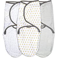 Emma + Ollie Swaddle Blanket Wrap Set of 3, Adjustable Infant Baby Swaddle Wrap Blanket, Grey Gender Neutral Swaddle, Yellow Bee Pattern Swaddle Wrap, Baby Shower Gift for Girl or Boy