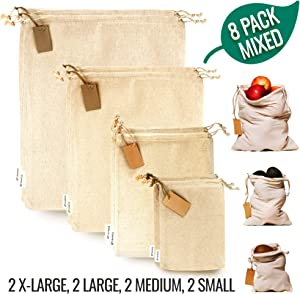 Muslin Bags with Drawstrings - Reusable Produce Bags for Bulk Food Storage - Cloth Bags - Canvas Fabric Bags - 100% Natural Cotton Bags Washable - Set of 8 Mixed (S,M,L,XL) by Leafico