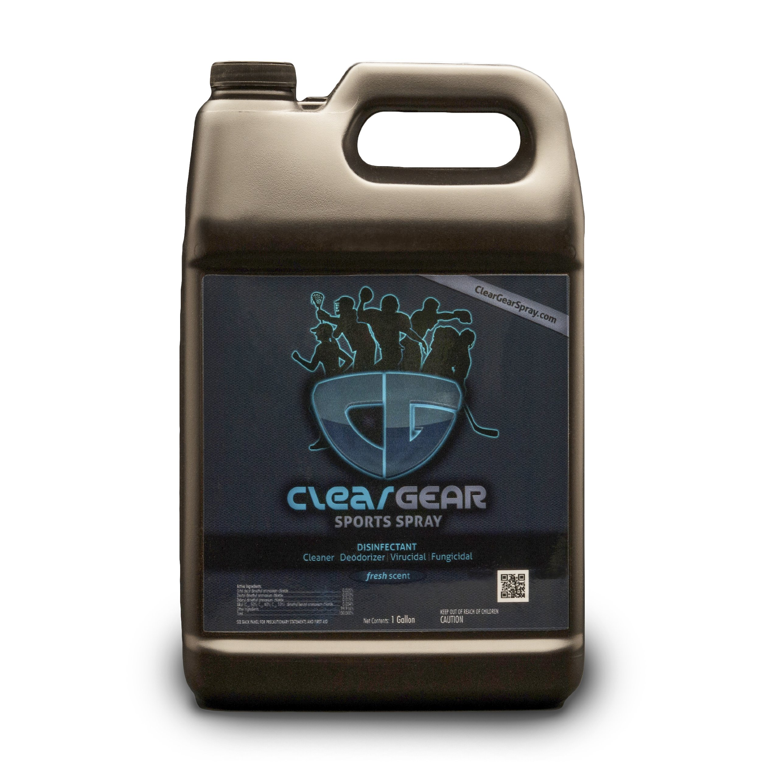 Clear Gear Sports Spray Case (6 Count) of 1 Gallon Bottles -  Disinfecting and Deodorizing Spray Kills MRSA, Staph and Strep and Eliminates the Funk in Athletic Facilities, Gyms and Training Centers
