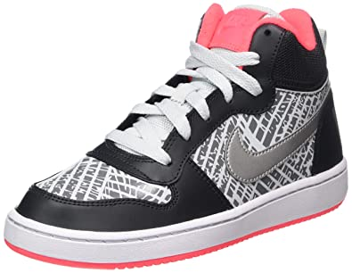 watch ff6d1 519bd Nike Court Borough Mid PRNT GG Chaussures de Basketball Fille, Gris ( Anthracite Metallic