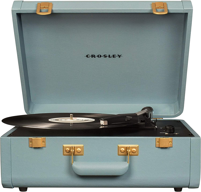 Crosley Portfolio Vintage 2-Speed Bluetooth Suitcase Turntable with Built-in Speakers, Tourmaline
