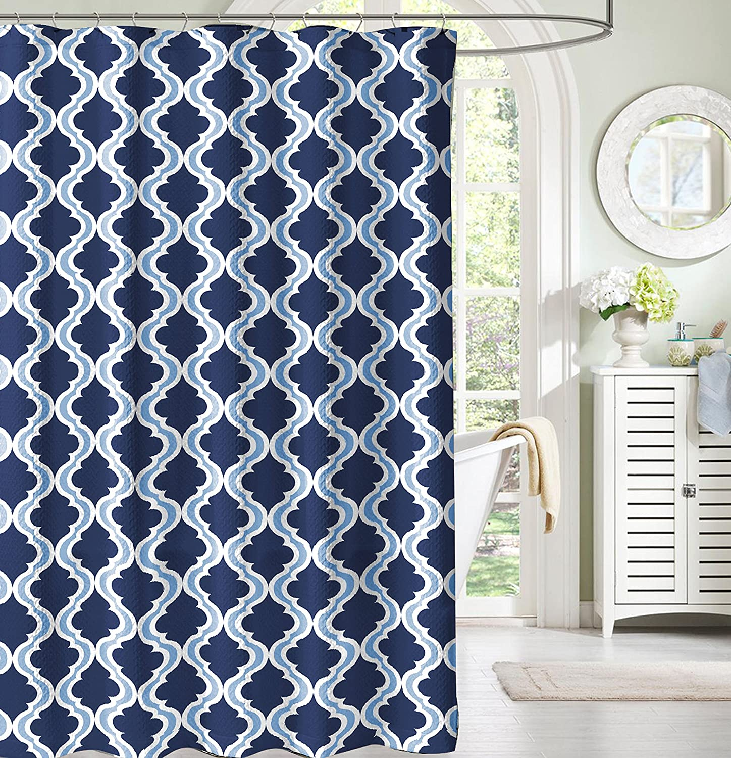 Amazon.com: Navy and Light Blue White Moroccan Fabric Shower Curtain ...