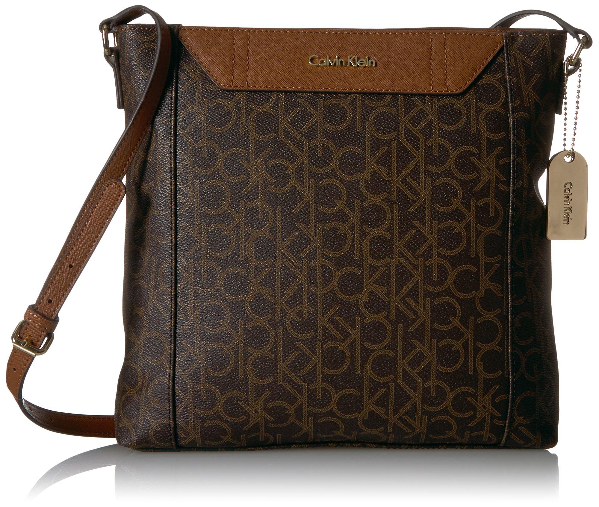 Calvin Klein Dorus Monogram Top Zip Crossbody, Rown/Khk/Luggage Saffiano