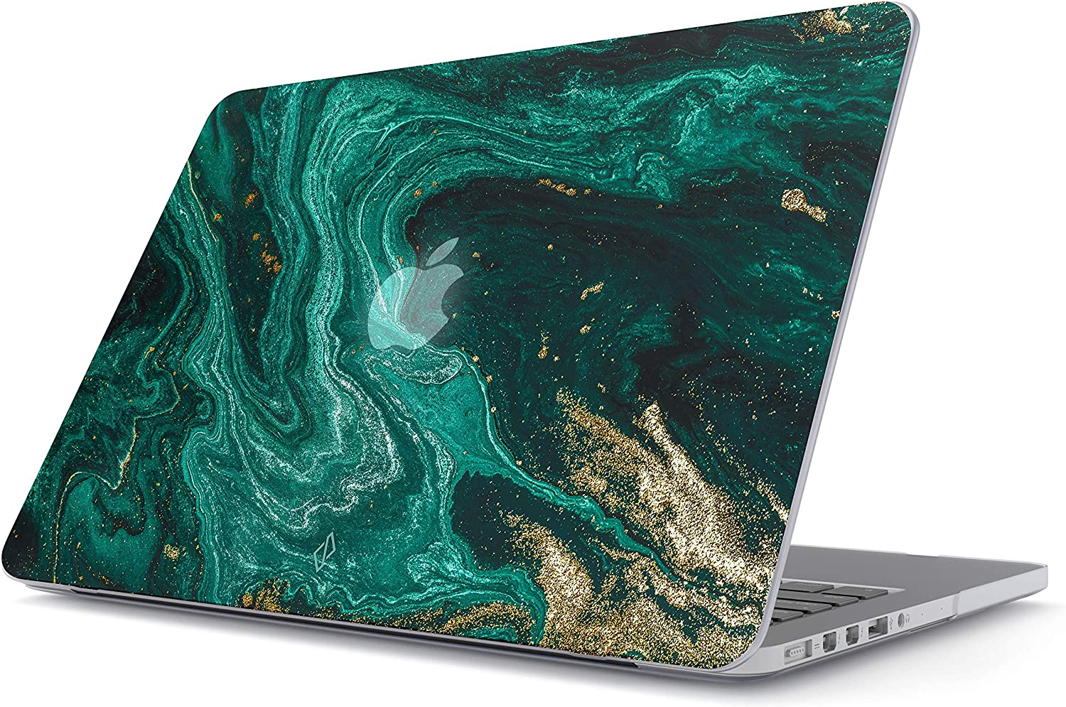 """BURGA Hard Case Cover Compatible with MacBook Air 11 Inch Case, Model: A1370 / A1465 11-11.6 Inch 11"""" Emerald Green Jade Stone High Fashion Luxury Gold Glitter Marble Cute for Girls"""