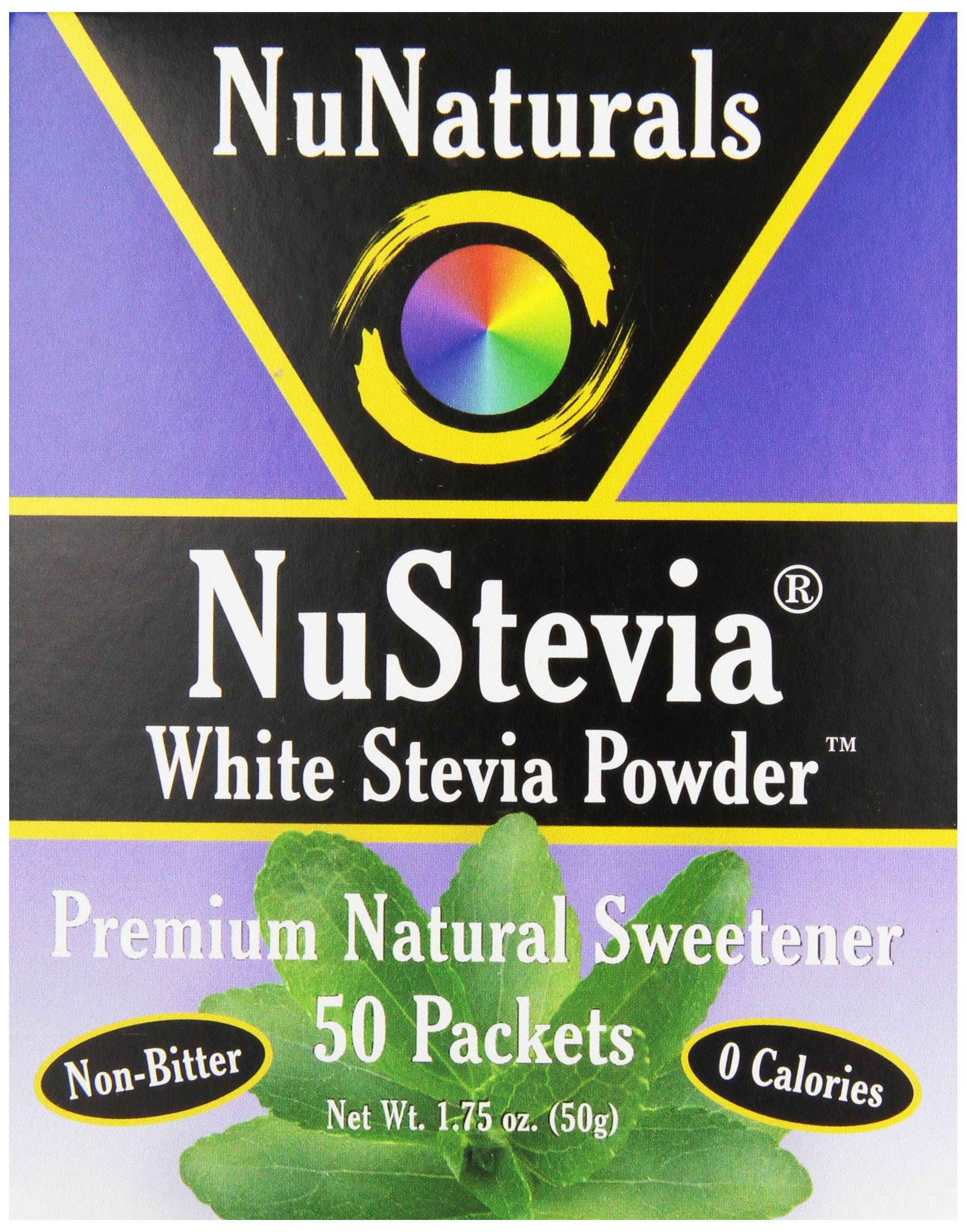 NuNaturals Nustevia White Stevia with Maltodextrin Packets, 50 count (Pack of 24)
