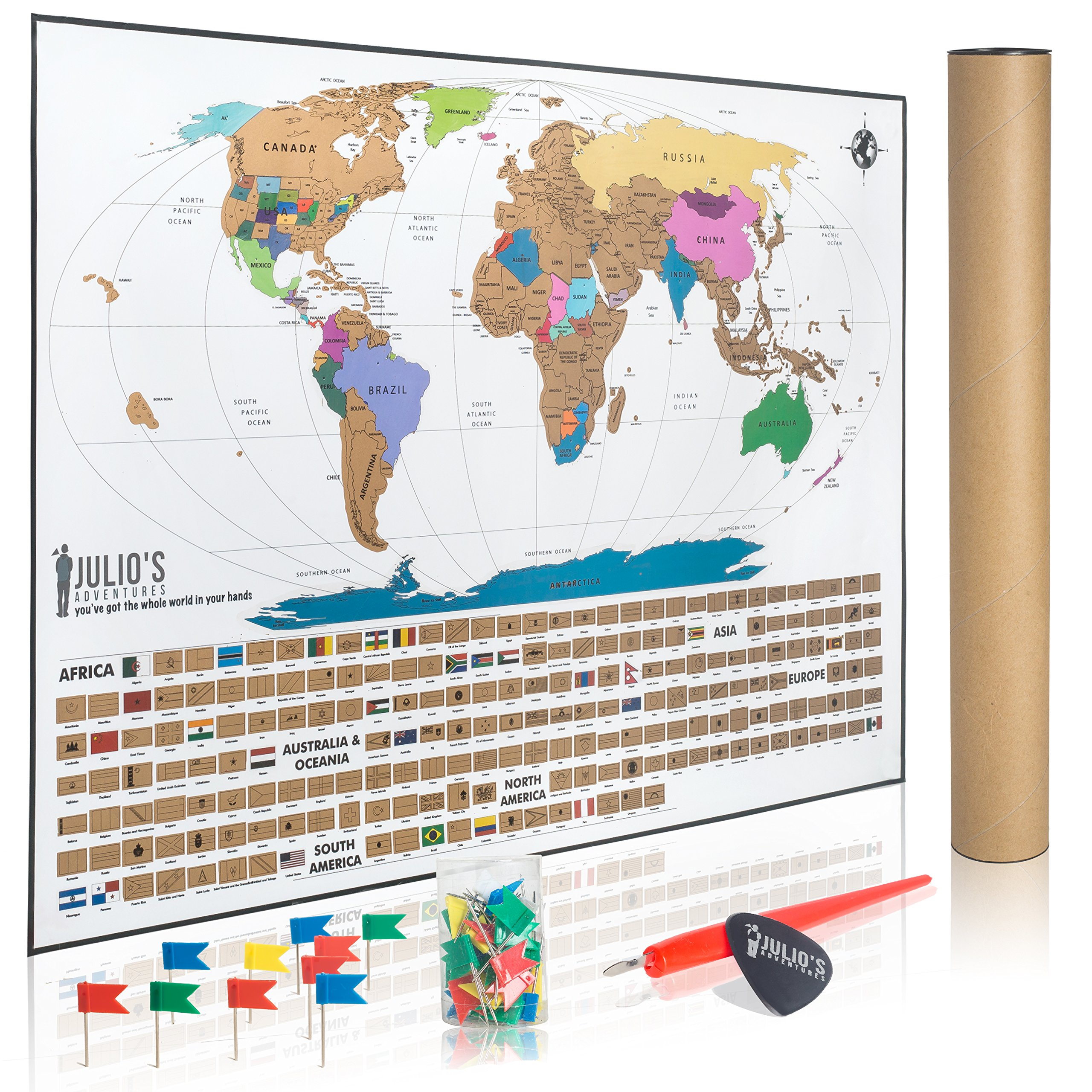 Scratch Off World Travel Tracker Map With Free  Flag Pins Pen - Us travel map poster