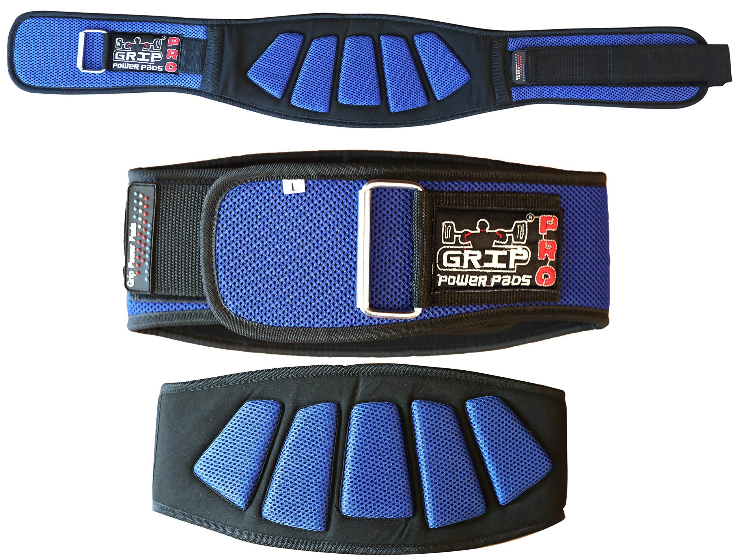 Grip Power Pads Weightlifting Gym Belt Powerlifting for Men & Women 6 Inch Back Support Best for Olympic Gym Lifting (Blue, 27''- 32'' Around Navel Small)